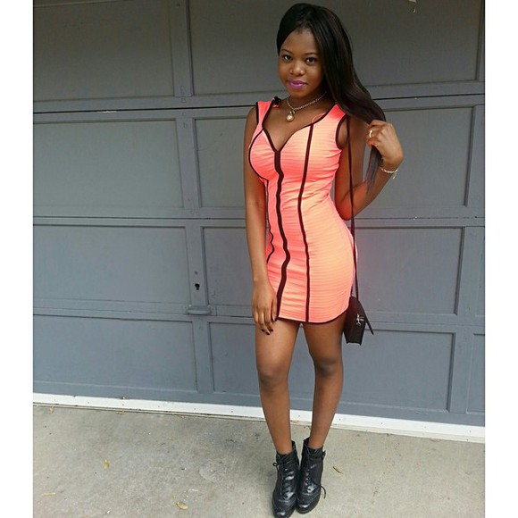 fitted dress tight dress short dress mini dress hot pink homecoming dress neon orange stretchy high heels bag purse