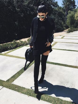 dress boots jacket kylie jenner purse instagram over the knee boots sunglasses all black everything all black  outfit black