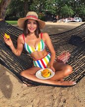 swimwear,bikini,bikini top,bikini bottoms,stripes,summer,olivia culpo,instagram