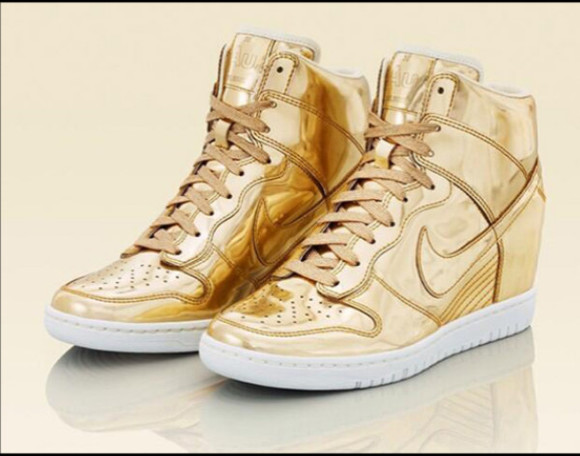 shoes high top sneaker nike sneakers gold