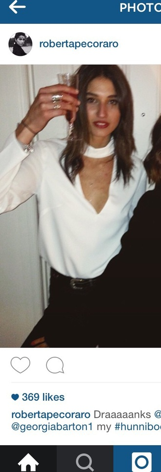 top white blouse white top v neck