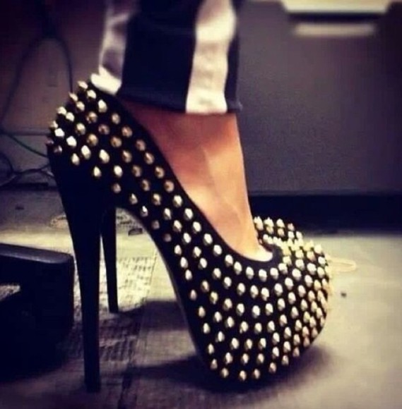 shoes high heels black shoes spikes pumps platform