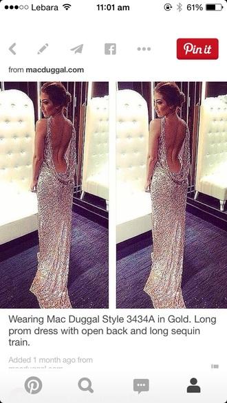 dress silver style long dress formal dress backless dress sparkly dress prom dress backless prom dress gorgeous dress
