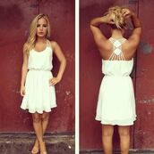 dress,white dress,white,summer,beautiful,straps,white strappy detail back,colorful,beach dress,simple fahsion,short dress