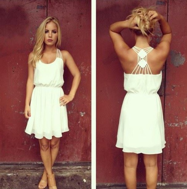 31a4400bccd dress white dress white summer beautiful straps straps white strappy detail  back colorful beach dress simple