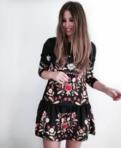 dress,tumblr,black dress,floral,floral dress,three-quarter sleeves,embroidered,embroidered dress,mini dress