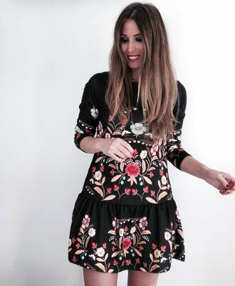 dress tumblr black dress floral floral dress three-quarter sleeves embroidered embroidered dress mini dress
