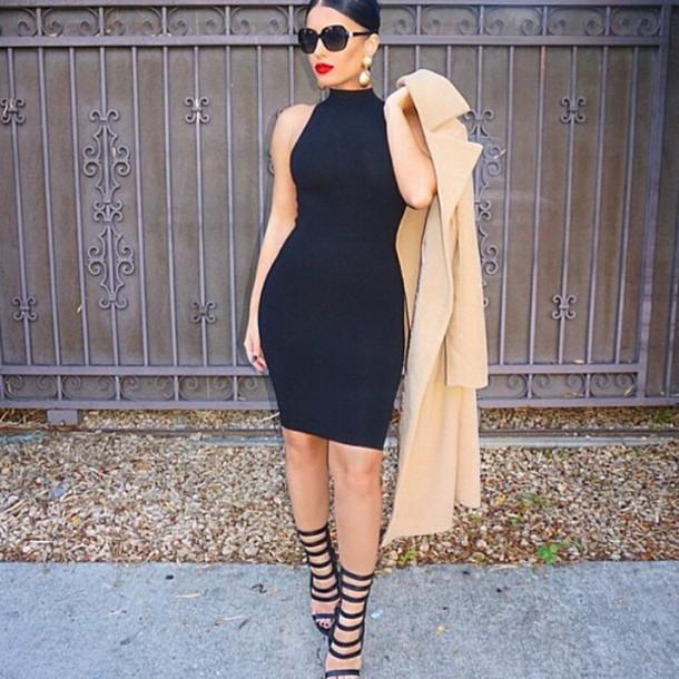 dress black short shoes coat