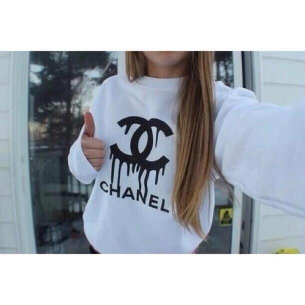 sweater chanel black dripping sweatshirt shirt white cardigan white and black sweater sweater  white black logo chanel sweater a white sweater white with black logo from chanel