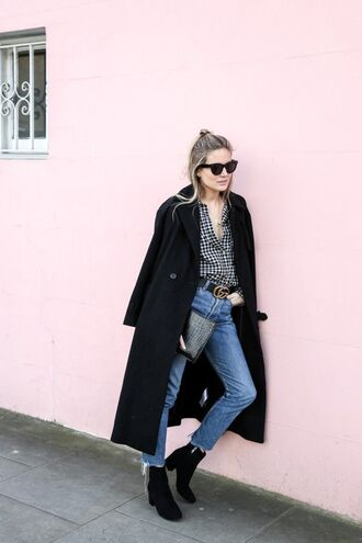 coat tumblr black coat shirt checkered shirt checkered denim jeans blue jeans gucci gucci belt boots black boots high heels boots thick heel sunglasses black sunglasses fall outfits
