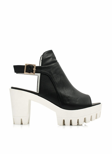 Bareback-Chunky-Heels BLACK BLUE NEONYELLOW WHITE - GoJane.com