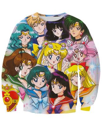 sweater anime manga graphic tee printed sweater sailor moon girly kawaii oversized sweater it girl shop cool