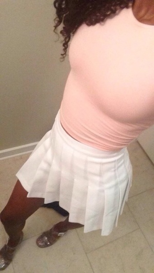 skirt white shoes