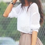sweater,jumper,white,girly,holey sweater,crop tops,skirt,light brown skirt