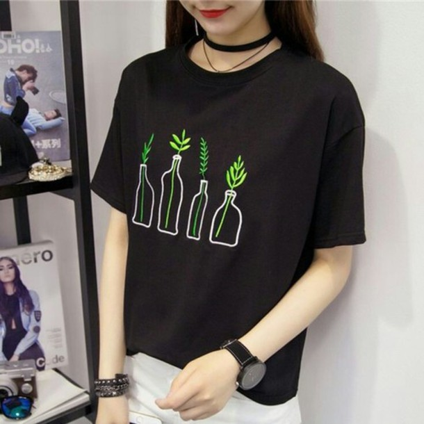shirt plants black green korean fashion korean style