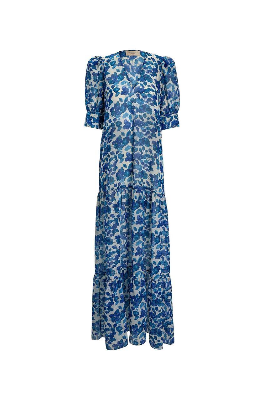 Turquoise Flower Long Dress