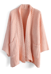cardigan,cozy waffle knit cardigan in pink,pink,chicwish
