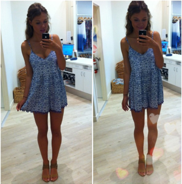 dress jumpsuit romper blue cute shoes
