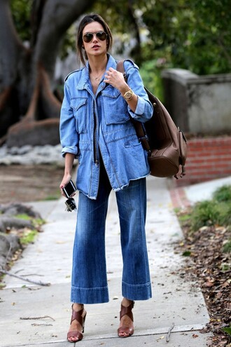 jacket denim jacket denim sandals alessandra ambrosio spring jacket spring outfits sunglasses shoes jeans