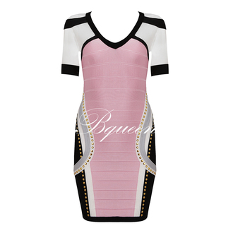 dress beaded mesh short sleeve bandage bqueen sexy fashion pink chic evening dress pink dress chicago bulls