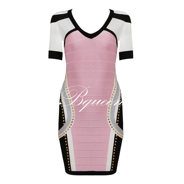 dress beaded mesh short sleeve bandage dress bqueen sexy fashion pink chic evening dress pink dress chicago bulls