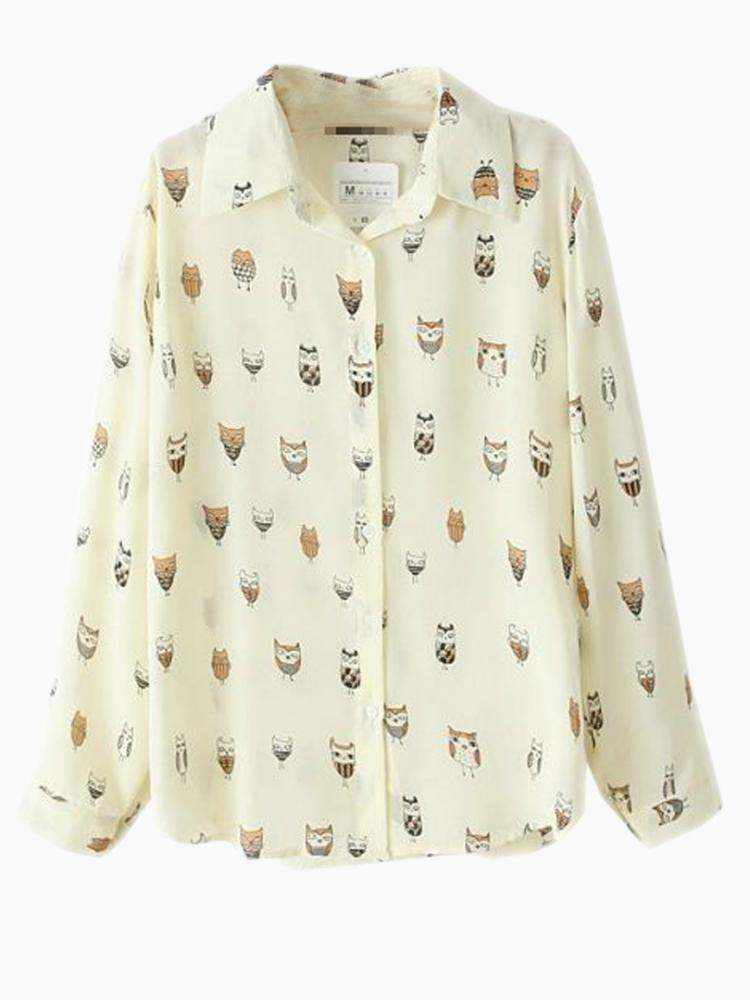Beige Bright Chiffon Shirt With Owl Pattern | Choies