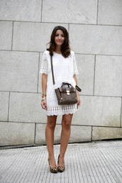lovely pepa,dress,bag,shoes,jewels,white summer dress,animal print pumps,animal print platform pumps,phillip lim,phillip lim satchel,mini satchel bag,pashli,white lace dress,summer lace dress,animal print heels,platform pumps,blogger,streetstyle,stacked bracelets