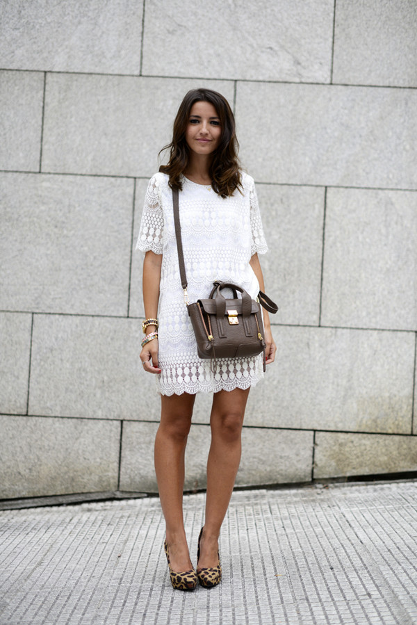 lovely pepa dress bag shoes jewels white summer dress animal print pumps animal print platform pumps phillip lim phillip lim satchel mini satchel bag pashli white lace dress summer lace dress animal print heels platform pumps blogger streetstyle stacked bracelets