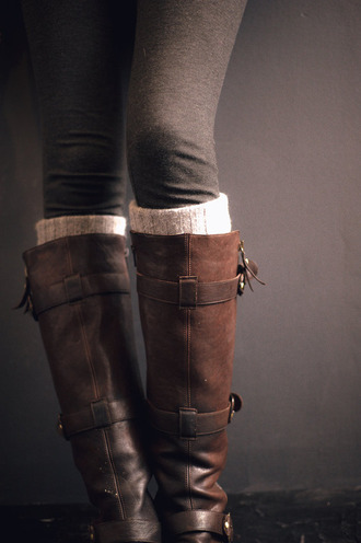 shoes boots brown high boots leather leg warmers brown leather boots riding boots tall boots buckles cute boot socks white socks