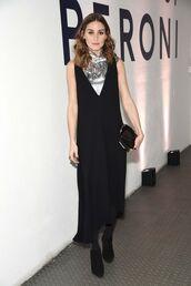top,silver,metallic,black dress,midi dress,dress,olivia palermo,blogger,blogger style