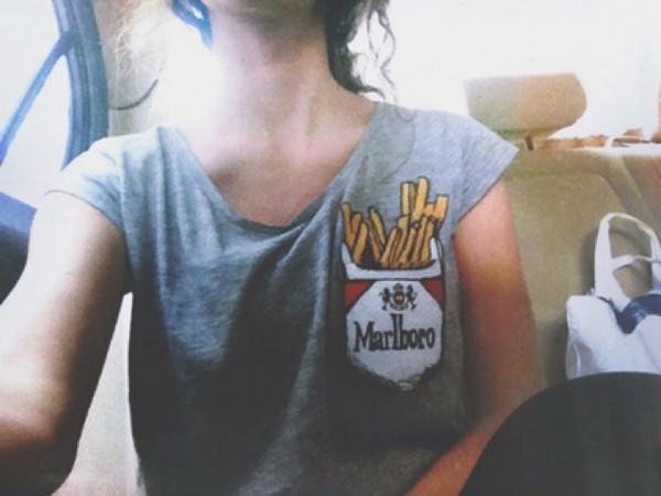 t-shirt cigarette marlboro fries