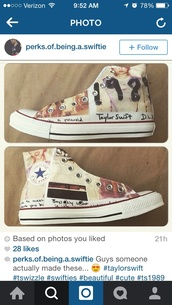 taylor swift,converse,shoes,earphones,polaroid camera,taylor swift shoes