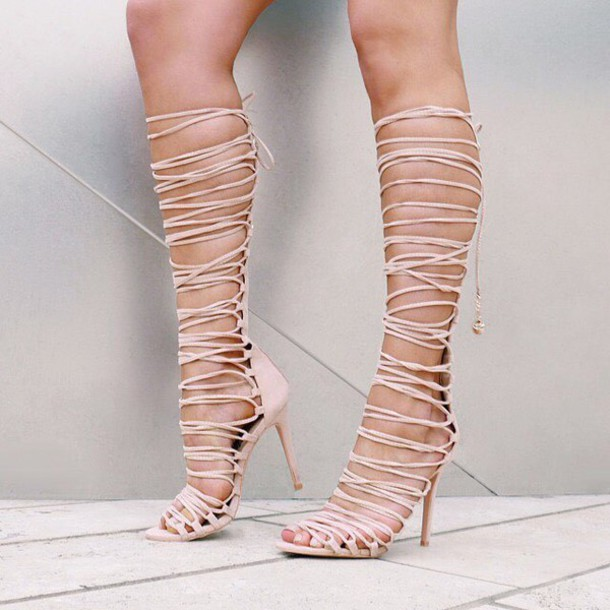 bcf105131176 shoes gladiator heel gladiators sandals heel heels lace up lace up heels  strappy heels gojane nude