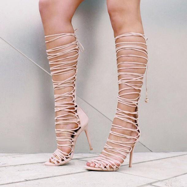shoes gladiator heel gladiators sandals heel heels lace up lace up heels strappy strappy heels tan love gojane nude sandals strappy sandals