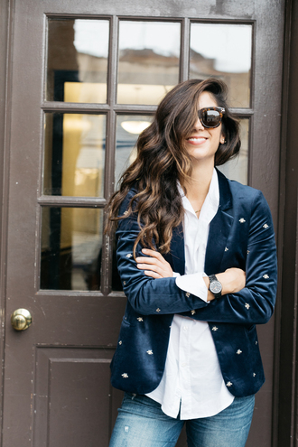 jacket tumblr embellished jacket embellished velvet blazer velvet blazer shirt white shirt denim jeans blue jeans sunglasses black watch watch