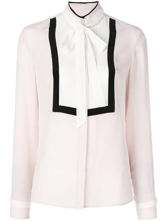 shirt bow women silk purple pink top