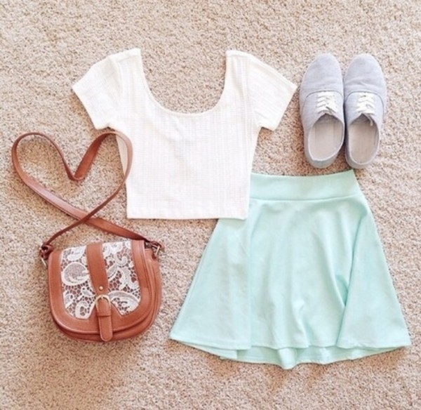 bag white crop tops grey sneakers sneakers brown crossbody crossbody bag crossbody bag crochet crochet bag mint mint skirt mint skater skirt top skirt shoes tank top shirt