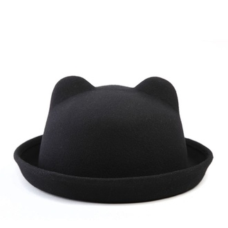 hat cat ears bowler hat black