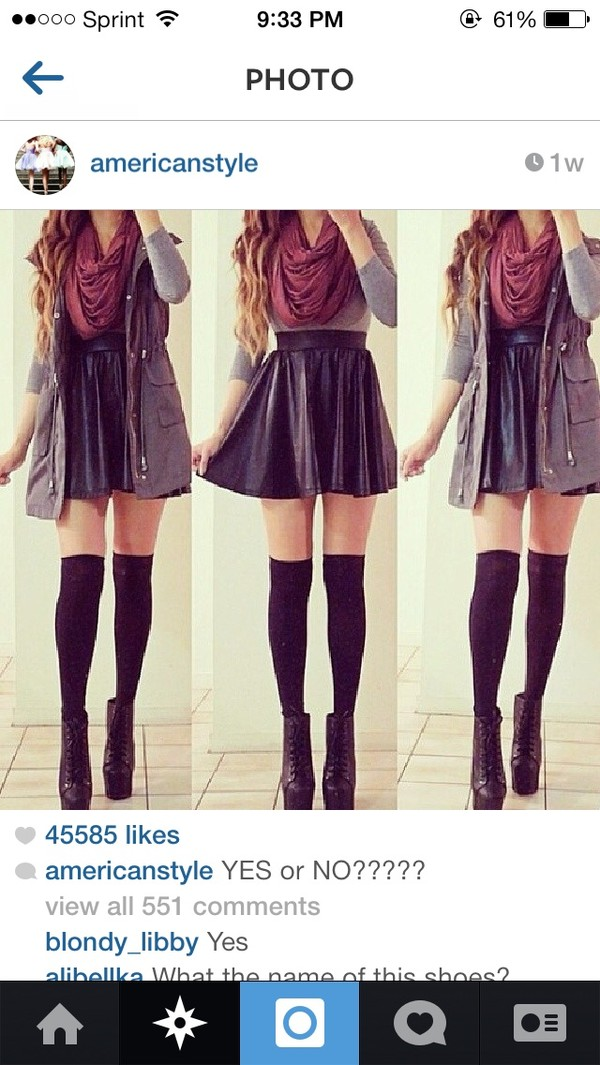 shirt burgundy scarf black leather skirt grey long sleeve skirt