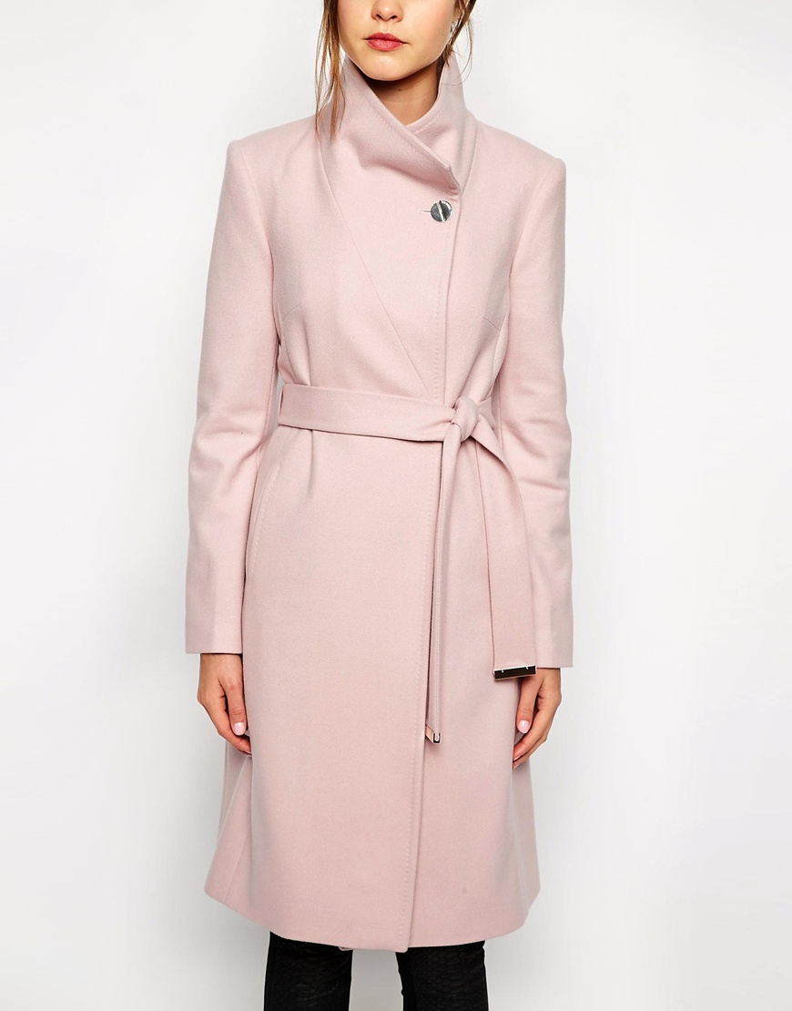 Ted Baker Belted Wrap Coat in Pale Pink at asos.com