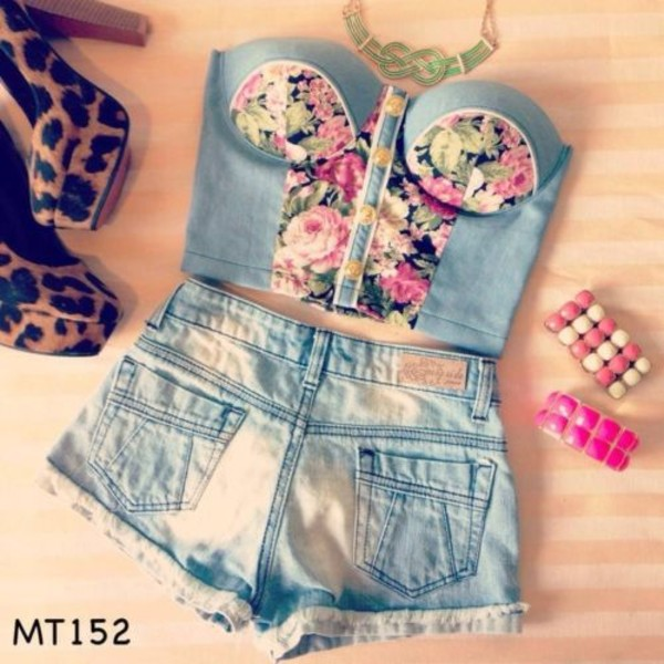 tank top shorts bracelets shoes high heels bustier floral top necklace leopard print pink light blue