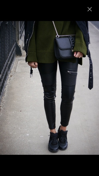 sweater jacket shoes leather jacket leather pants pants green sweater bag