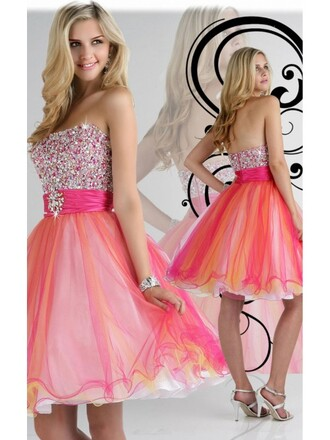 dress fashion graduation dresses pink and orange