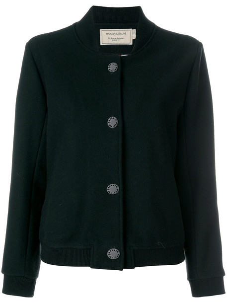 maison kitsune jacket women soft black wool