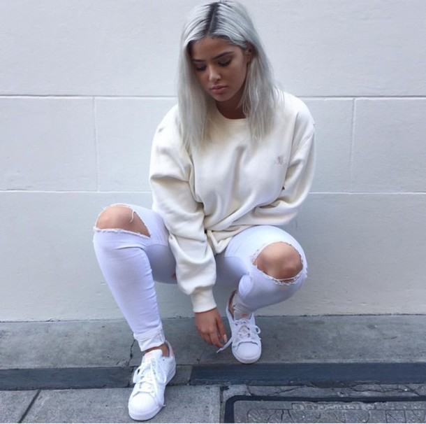 Jeans lilac pastel shoes white white shoes purple sweater cream cream sweater cute ...