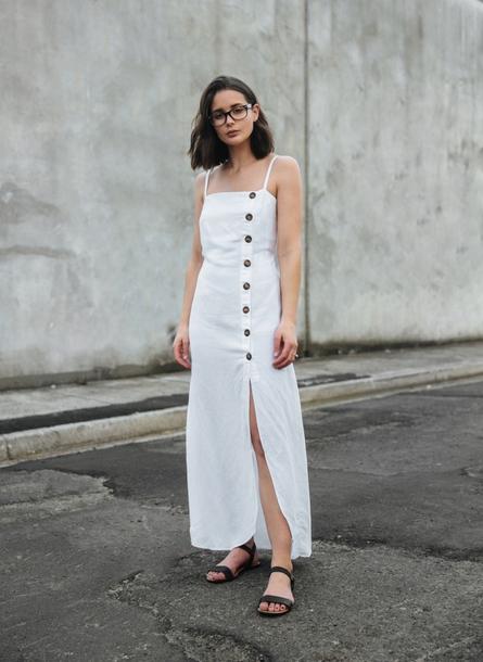 dress, tumblr, maxi dress, slit dress