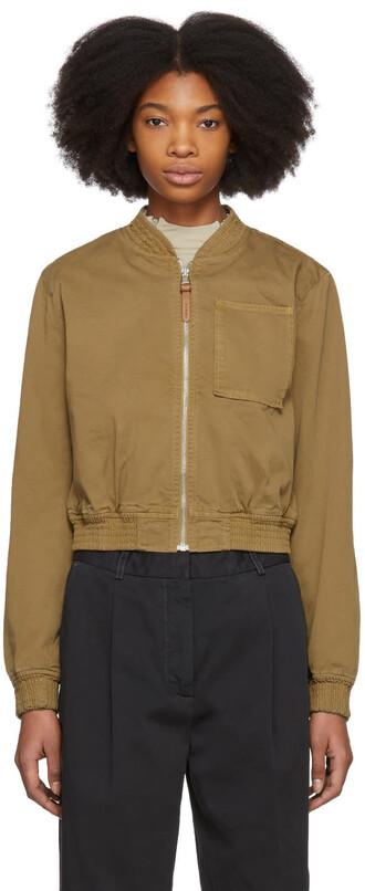 jacket bomber jacket tan cotton