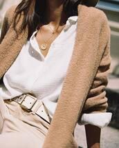 cardigan,brown cardigan,shirt,white shirt,sweater