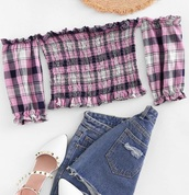 blouse,crop,girly,girl,girly wishlist,pink,plaid,off the shoulder,off the shoulder top,crop tops,cropped