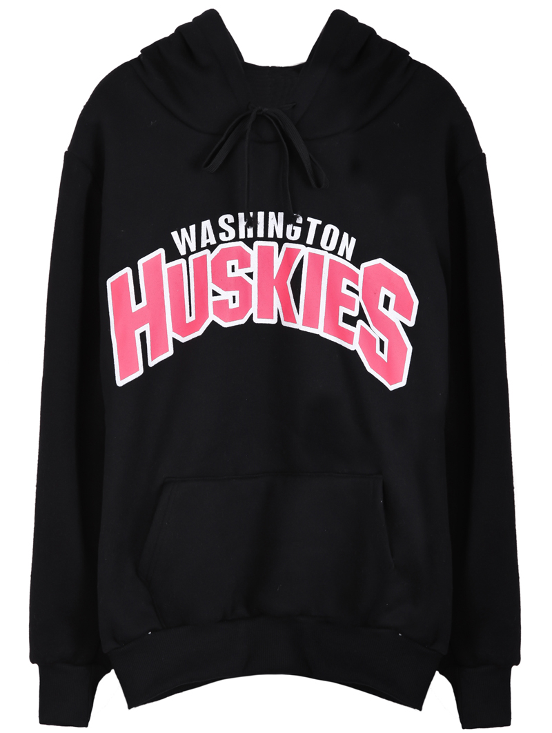 Black WASHINGTON HUSKIES Print Hoodie Sweatshirt - Sheinside.com